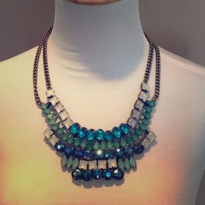 BR emerald and navy Statement necklace.